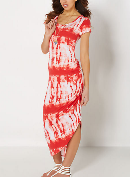 Coral Tie Dye Cinched Dress; $10.49