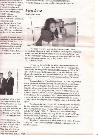 Jones, C. (2008) First Love. The Carlow Chronicle