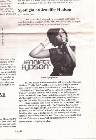Jones, C. (2008) Spotlight on Jennifer Hudson. The Carlow Chronicle