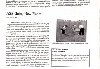 Jones, C. (2010) ASB Going Places. The Carlow Chronicle