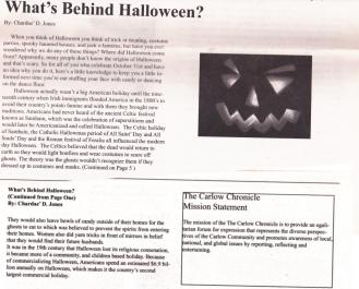 Jones, C. (2010) What's Behind Halloween. The Carlow Chronicle