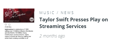 Taylor Swift Presses Play on Streaming Services